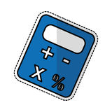 Calculator device icon. Blue calculator device sticker icon  over white background.  illustration Royalty Free Stock Image