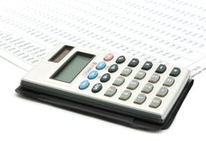 Calculator on diagram. Single calculator on a stock-diagram. Business stil-life royalty free stock photo