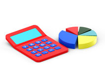 Calculator and diagram. 3d on white Royalty Free Stock Image