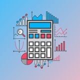 Calculator with diagrams. Calculator with finance charts and diagrams - vector finance report illustration made with flat statistics signs. Calculation and Royalty Free Stock Image