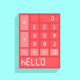 Calculator display with HELLO - 07734 Royalty Free Stock Photos