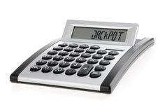 Calculator displaying the word JACKPOT Royalty Free Stock Photo