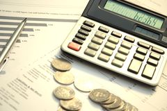 Calculator and documents Royalty Free Stock Photos