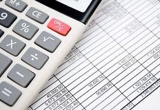 The calculator on documents. Accounts department. Royalty Free Stock Image