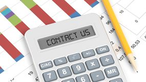 Calculator and documents with info charts. And text Contact Us Royalty Free Stock Photo