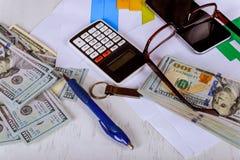 Calculator, Dollar Bill, Dollar Banknote, Pen, Business Chart, Glasses. Calculator, Dollar Bill, Dollar Banknote, Pen, Business Chart Glasses finance concept royalty free stock image