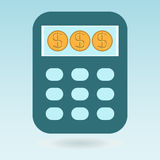 Calculator, dollar coins Stock Images