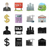 Calculator, dollar sign, new building, real estate offices. Realtor set collection icons in black,cartoon style vector. Symbol stock illustration Stock Photos