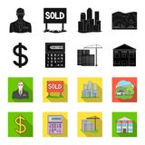 Calculator, dollar sign, new building, real estate offices. Realtor set collection icons in black,flet style vector Stock Images