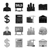 Calculator, dollar sign, new building, real estate offices. Realtor set collection icons in black,monochrome style Stock Images