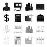 Calculator, dollar sign, new building, real estate offices. Realtor set collection icons in black,outline style vector Stock Photography
