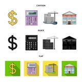 Calculator, dollar sign, new building, real estate offices. Realtor set collection icons in cartoon,black,flat style vector illustration