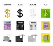 Calculator, dollar sign, new building, real estate offices. Realtor set collection icons in cartoon,black,outline,flat. Style vector symbol stock illustration Royalty Free Illustration