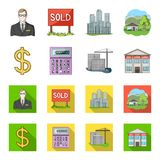 Calculator, dollar sign, new building, real estate offices. Realtor set collection icons in cartoon,flat style vector. Symbol stock illustration Royalty Free Stock Photos