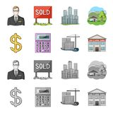 Calculator, dollar sign, new building, real estate offices. Realtor set collection icons in cartoon,monochrome style. Vector symbol stock illustration Royalty Free Stock Photography