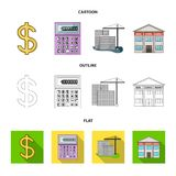 Calculator, dollar sign, new building, real estate offices. Realtor set collection icons in cartoon,outline,flat style. Vector symbol stock illustration Stock Illustration