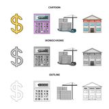Calculator, dollar sign, new building, real estate offices. Realtor set collection icons in cartoon,outline,monochrome. Style vector symbol stock illustration Stock Illustration