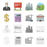 Calculator, dollar sign, new building, real estate offices. Realtor set collection icons in cartoon,outline style vector. Symbol stock illustration Stock Image