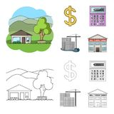 Calculator, dollar sign, new building, real estate offices. Realtor set collection icons in cartoon,outline style vector. Symbol stock illustration Vector Illustration