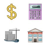 Calculator, dollar sign, new building, real estate offices. Realtor set collection icons in cartoon style vector symbol Royalty Free Stock Photo