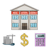 Calculator, dollar sign, new building, real estate offices. Realtor set collection icons in cartoon style vector symbol Royalty Free Stock Images