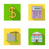 Calculator, dollar sign, new building, real estate offices. Realtor set collection icons in flat style vector symbol Stock Image
