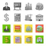 Calculator, dollar sign, new building, real estate offices. Realtor set collection icons in monochrome,flat style vector Royalty Free Stock Image