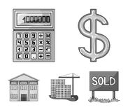 Calculator, dollar sign, new building, real estate offices. Realtor set collection icons in monochrome style vector. Symbol stock illustration Stock Photos