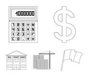 Calculator, dollar sign, new building, real estate offices. Realtor set collection icons in outline style vector symbol Stock Image