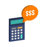 Calculator and dollar symbol. Flat Isometric Icon or Logo. Royalty Free Stock Photo