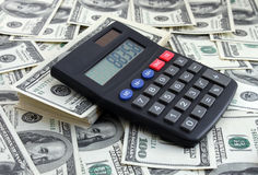 Calculator on dollars Royalty Free Stock Photos