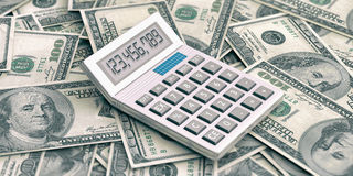 Calculator on 100 dollars background. 3d illustration. Calculator on 100 dollars banknotes background. 3d illustration Royalty Free Stock Photos