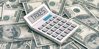 Calculator on dollars background. Word taxes in display. 3d illustration. Calculator on 100 dollars background. Word taxes in display. 3d illustration Stock Photos