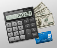 Calculator, dollars and credit card Stock Photography