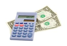 Calculator dollars help Royalty Free Stock Photography