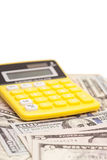 Calculator with dollars Royalty Free Stock Image