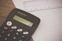 Calculator and drawing equipment and graph paper Stock Photography