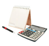 Calculator, een pen, een agenda Stock Foto's