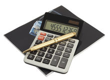 Calculator en boek Royalty-vrije Stock Afbeeldingen
