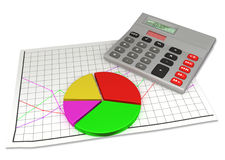Calculator en cirkeldiagram op financiële grafiek Stock Afbeeldingen