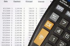Calculator en de Lijst van de Amortisatie Royalty-vrije Stock Foto's