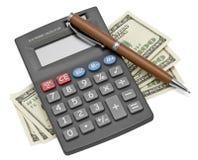 Calculator en Geld stock afbeeldingen
