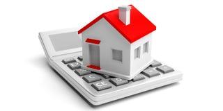 Calculator en huis op witte achtergrond 3D Illustratie Stock Afbeeldingen