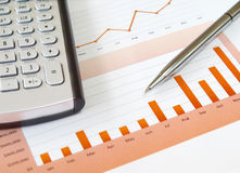 Calculator en pen. Royalty-vrije Stock Foto's