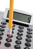 Calculator en potlood Royalty-vrije Stock Afbeelding