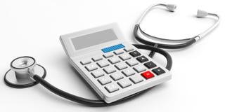 Calculator en stethoscoop op witte achtergrond 3D Illustratie Stock Fotografie