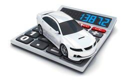 Calculator en witte kleine auto op witte achtergrond Stock Fotografie