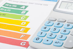 Calculator with energy efficiency chart Stock Photo