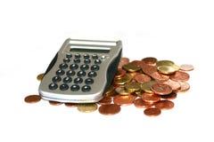 Calculator with Euro. Coin stock photo