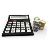 Calculator and euro coin Royalty Free Stock Photo